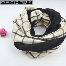 Black and White Plaid Wool Knitting Women Winter Long Scarf
